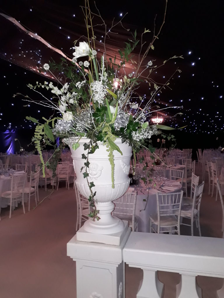 Lovely large urns in the main marquee