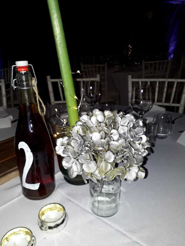 Silver sprayed dried hydrangea