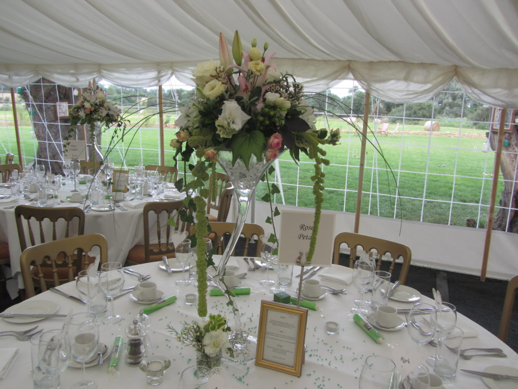 table centres made with a workshop for friends and family