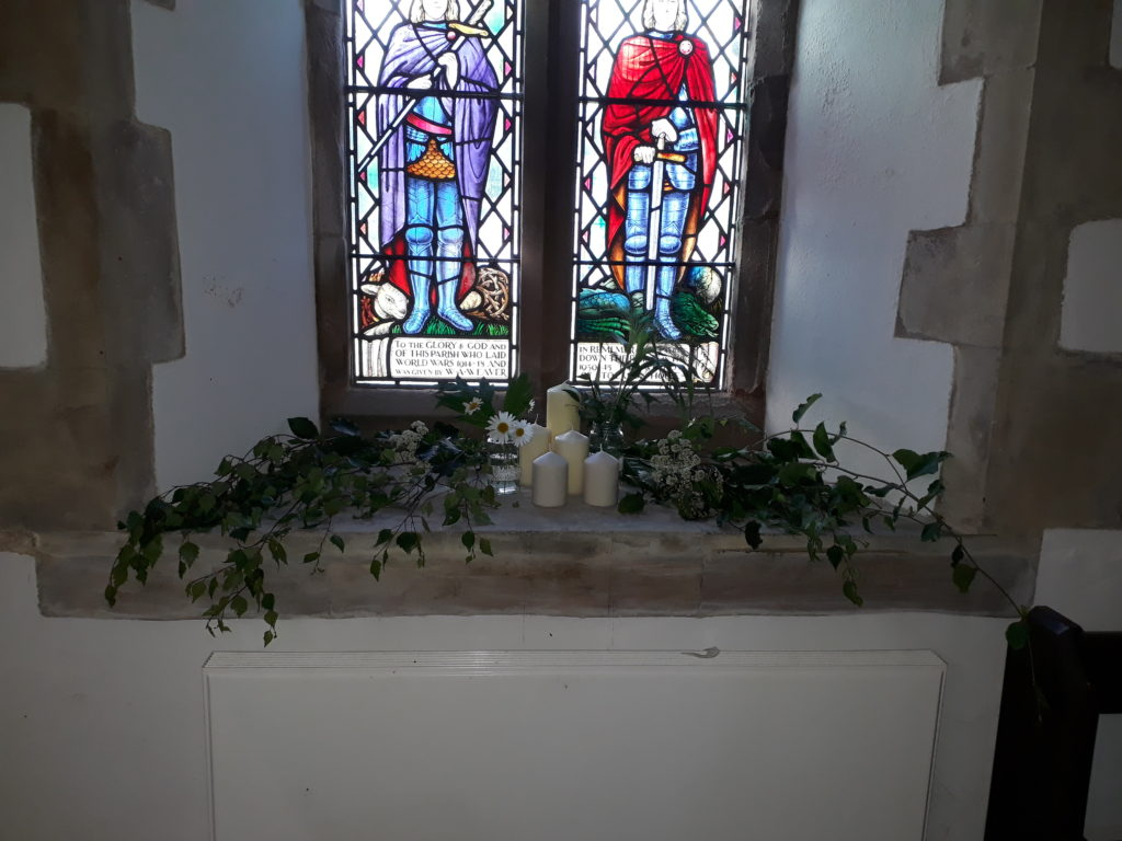 We provided greenery and flowers for bride and family/friends to decorate church windows, pillars and pews - all very pretty with the pedestals, greenery balls and doorway flowers we arranged