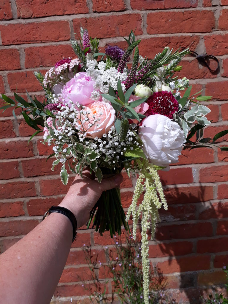Fabulous shades, Peonies, garden roses and hanging Amaranthus. June 18