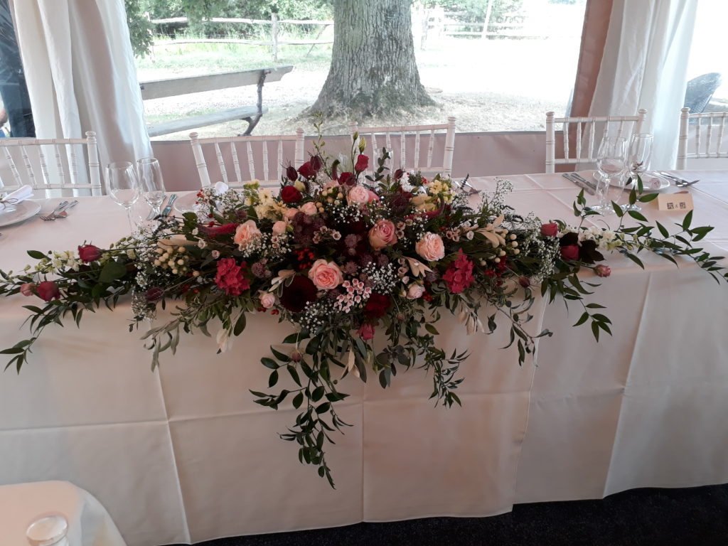 Long and low top table flowers