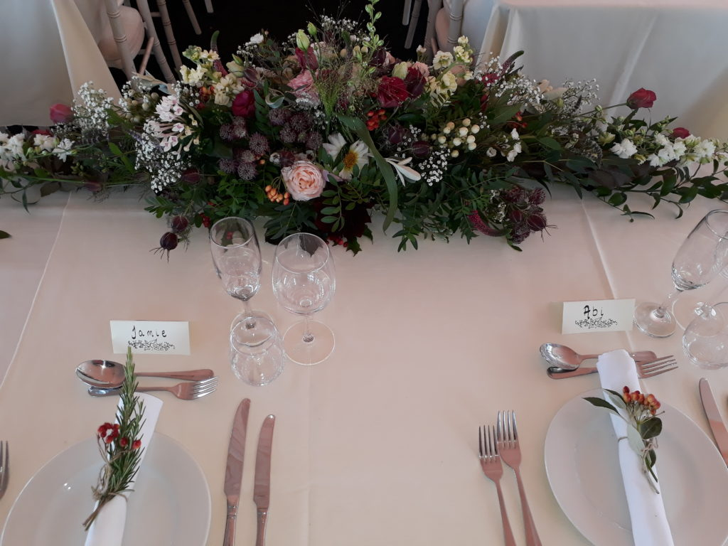All the place settings had leaves/berries/flowers
