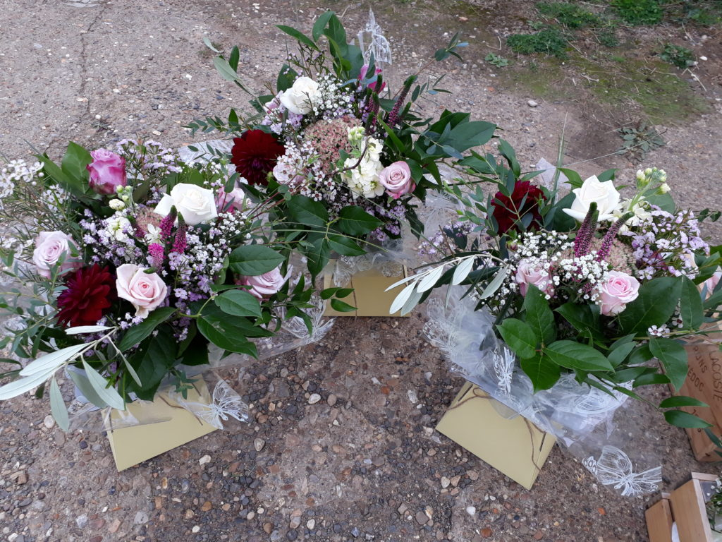 Three thank you 'living vase' bouquets