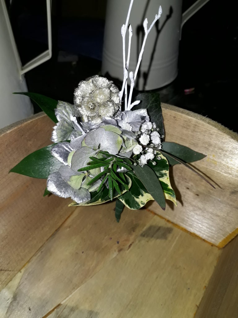 Groom's buttonhole - incl silver scabious and hydrangea