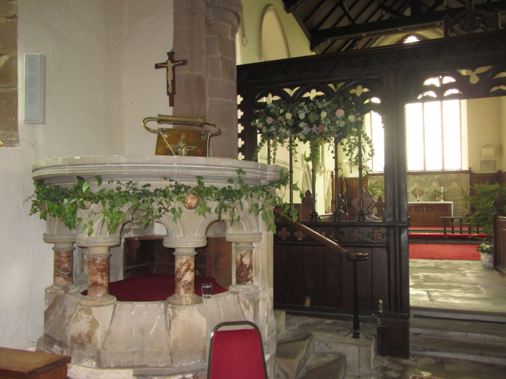 More trees in the church, font and pretty screen decoration