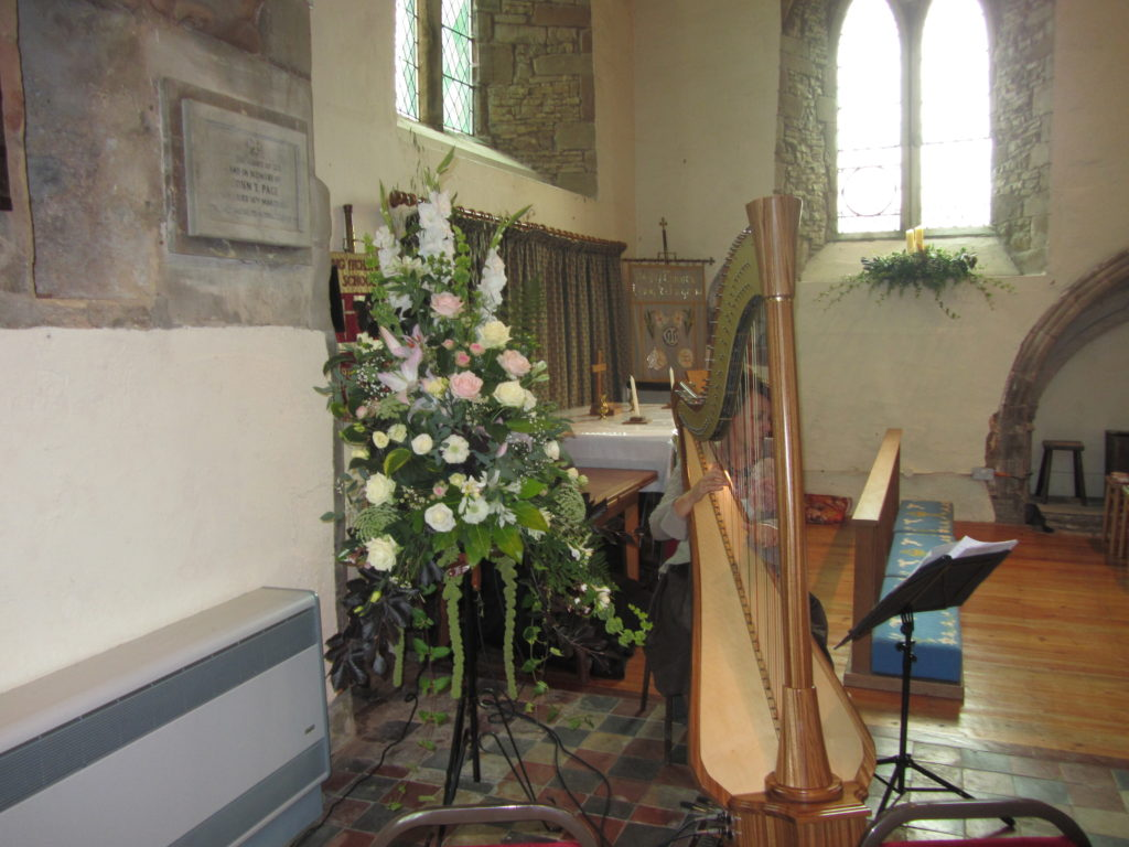 All church flowers moved to marquee after ceremony