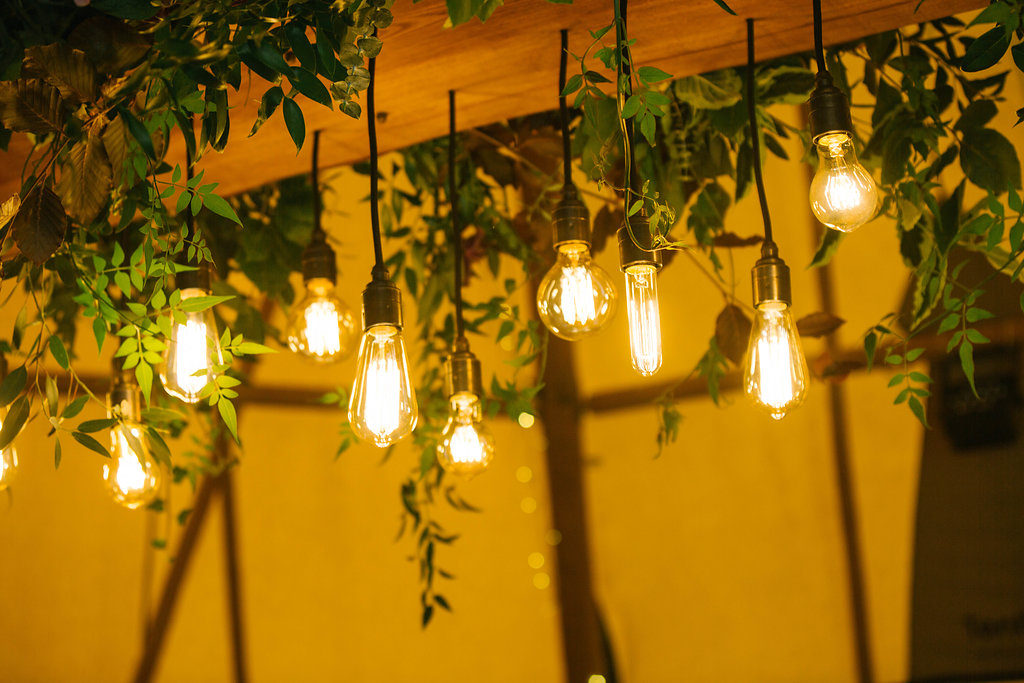 Amazing hanging cherry wood and edison bulb lights made by the very talented Groom