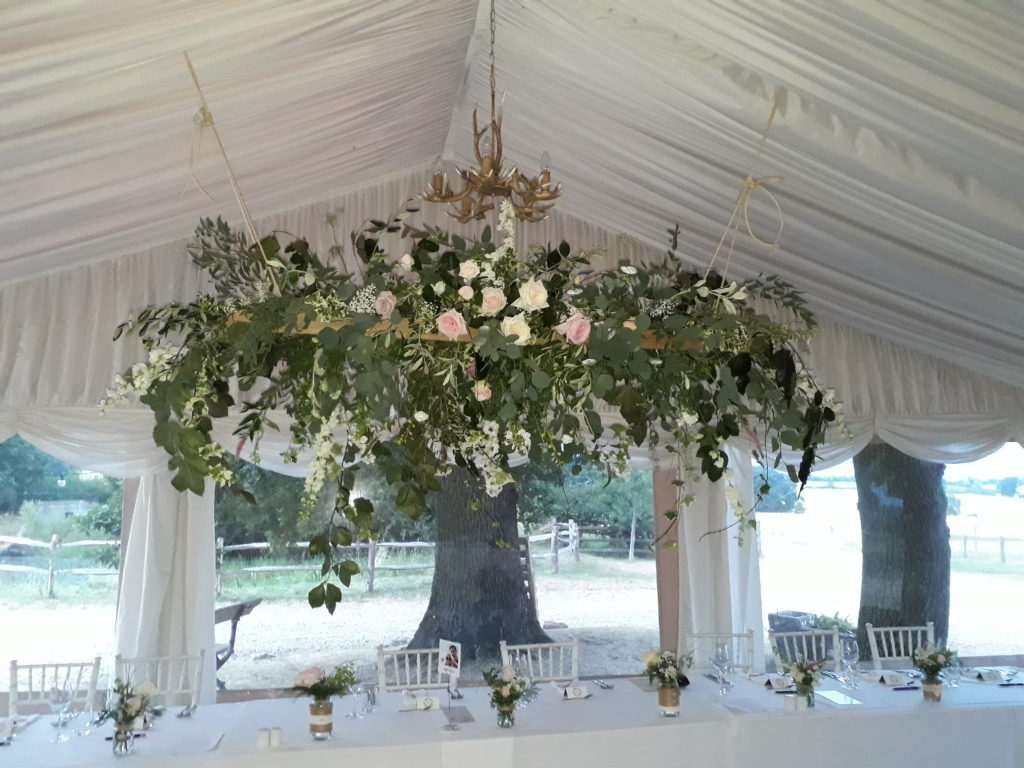 Cascading greenery and scented garden roses; loved creating this hanging ladder.