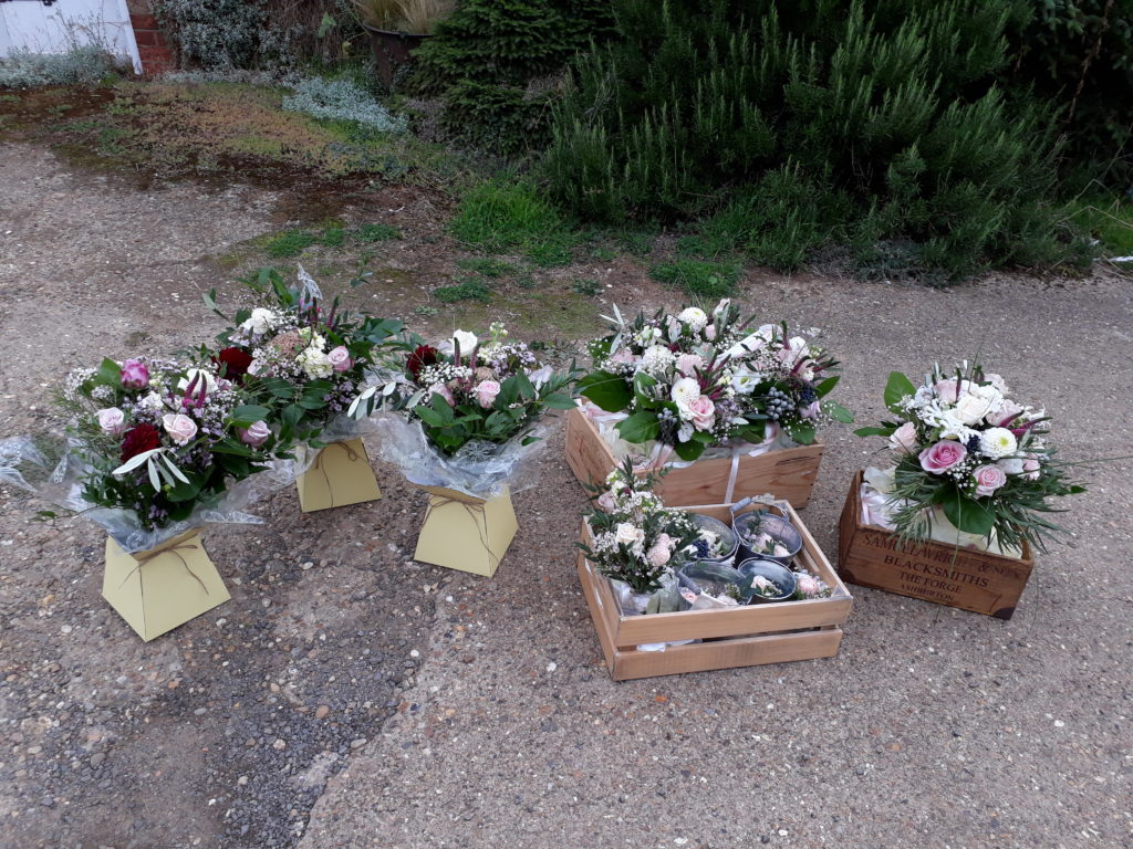 Lots of lovely flowers for delivery on this wedding morning: 7 bouquets/posies, 10 buttonholes and 3 thank you living vase bouquets.