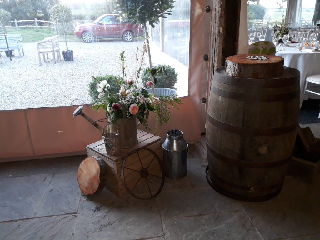 Vintage and rustic items ready for the cake to be delivered