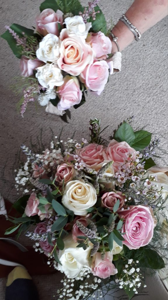 Pretty good match to the silk Bridesmaids' flowers- though I say so myself! Sometimes tricky to match with silk flowers.