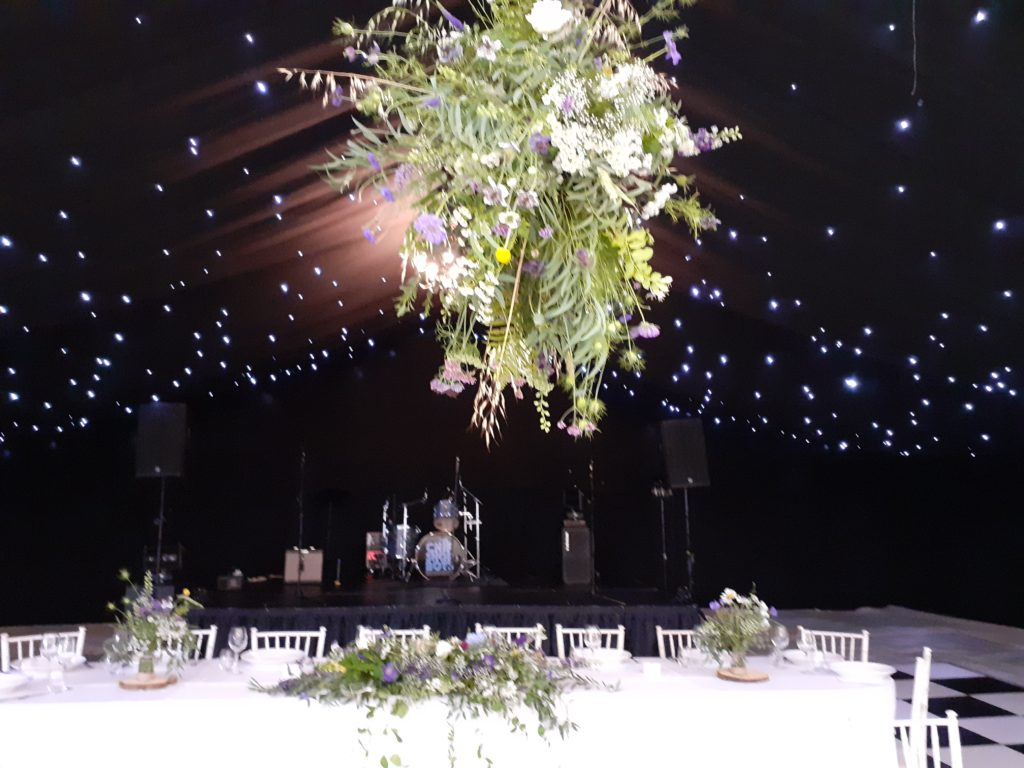 Hanging flower ball above the top table
